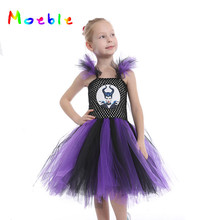 Purple Black Girl Dress Summer Tutu Dresses Evil Queen Baby Girl Cosplay Costume Hot Cartoon Children Kids Party Dresses Vestido posh dream mickey cartoon kids girl dress for cosplay pink and hot pink dot minnie girl tutu dresses flower girl cosplay dress