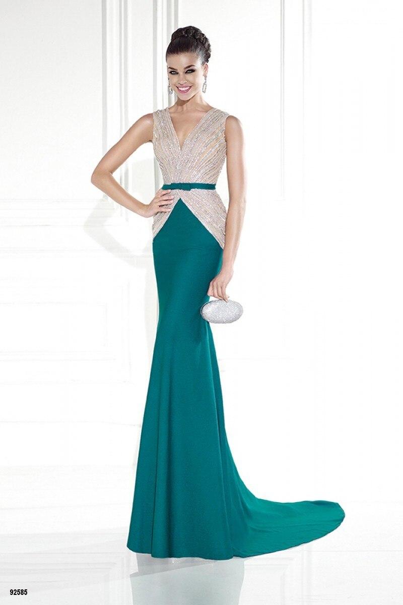 Luxury Hot Sale Prom Dresses Elegant Beading V Neck Long Green ...