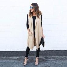 2016 New Hot Sale Women's Autumn  Long Section Loose Cotton Cardigans Vest Woman Sweaters Ladies Casual Vest Coats 4 Colors 3