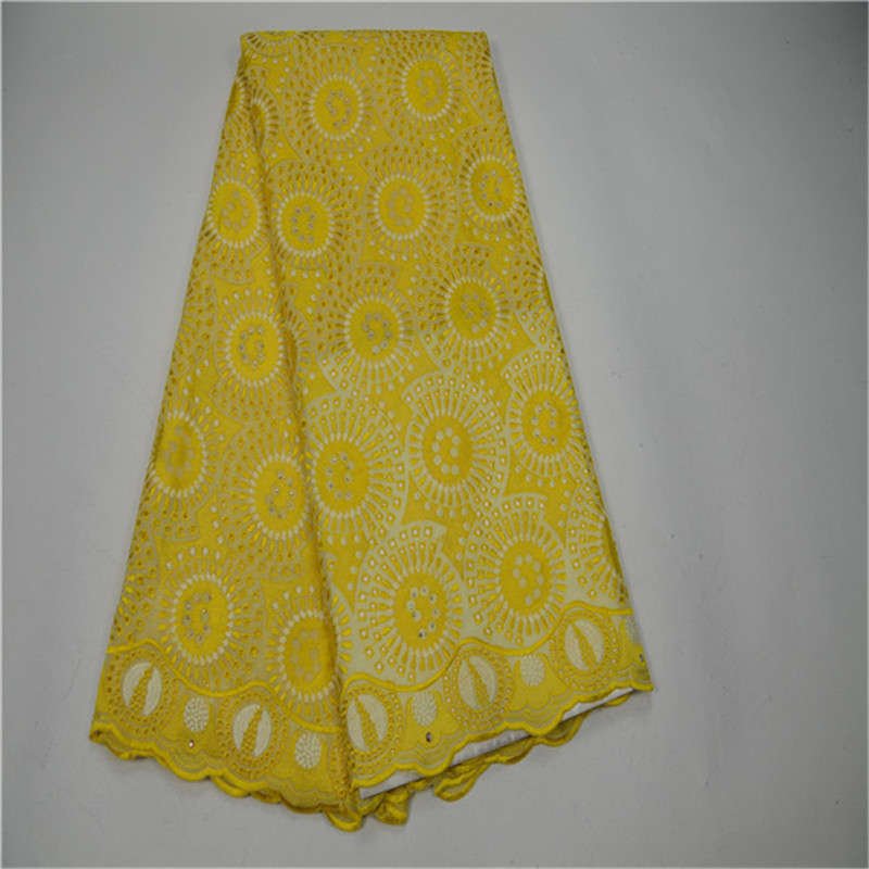 2018 New Design African Cotton Lace Fabric YELLOW Swiss Voile Lace High Quality Embroidery French Mesh 2018 Nigeria Lace Fabric