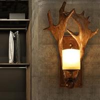 Antler headband Retro Wall Lamp For Living room Bedroom Hallway wooden wall lights hotel restaurant loft decor deer antler lamp