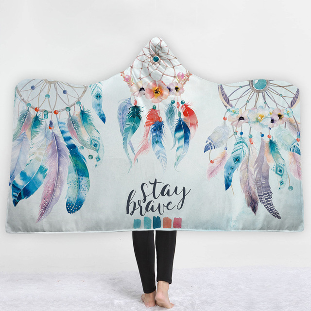 Dreamcatcher Feathers Hooded Blanket 2