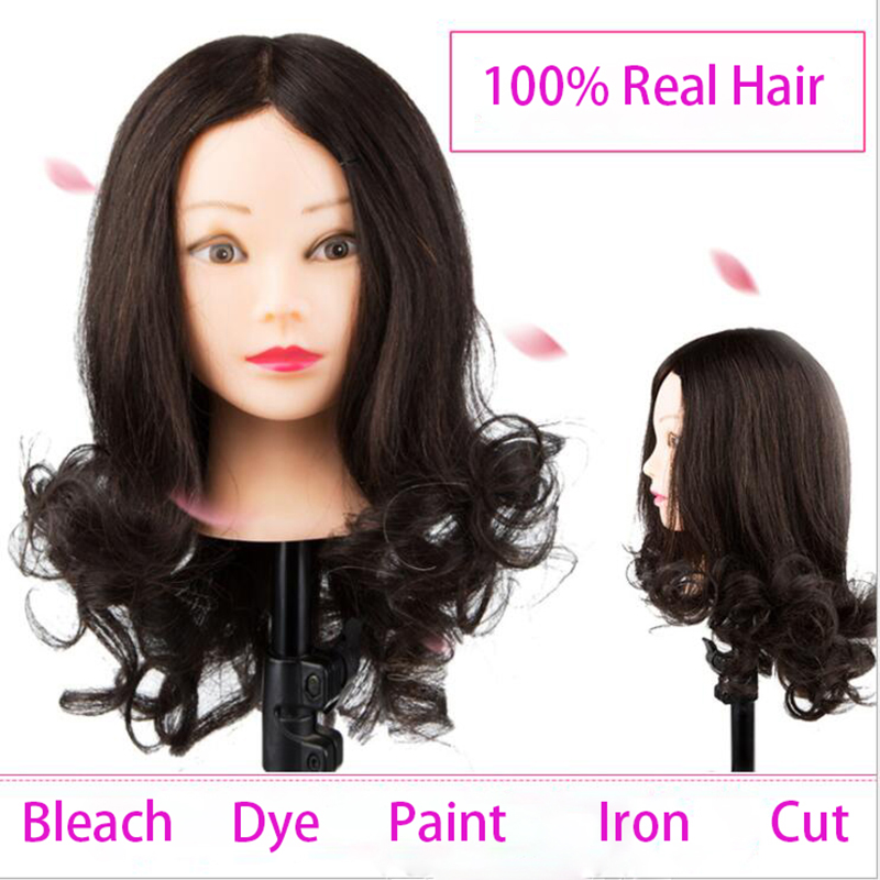 Cabeza de cabello humano 100% de Dummy para rizos, pintura, tinte, corte de Maniquí de 18