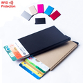 2016 Automatic Pop Up Click Slide Card Holder Thin Metal RFID Card Protector Cases Slim aluminium Credit Card Holder Wallet
