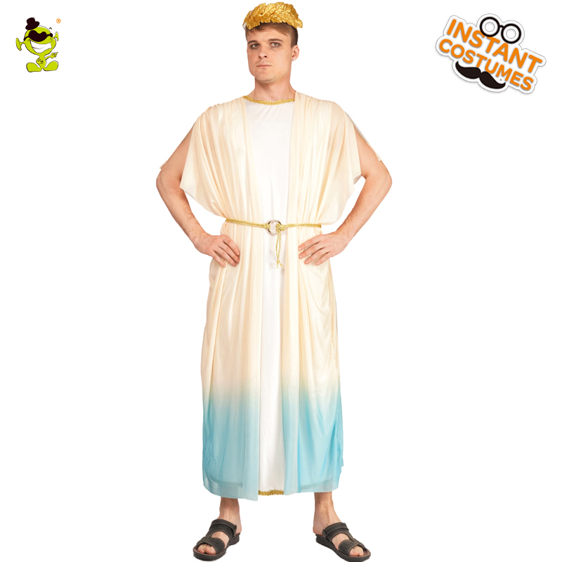 Roman Noble Missionary Roleplay Costumes Outfits for Adult Man Devout God Messenger with White Robe for Carnival Costumes