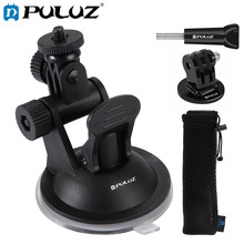 PULUZ Car Suction Cup Mount with Screw & Tripod Adapter Storage Bag for GoPro