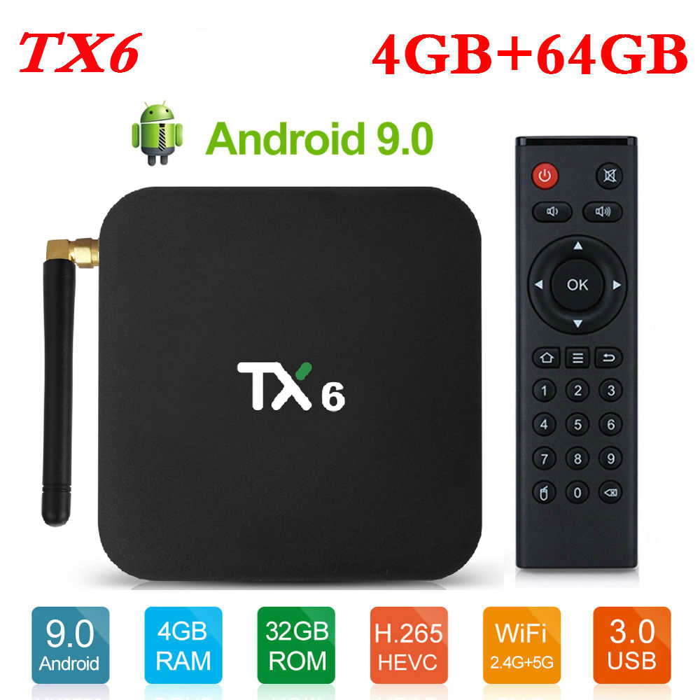 4GB RAM 64GB ROM TX6 Mini caja de TV inteligente Android 9,0 Allwinner H6 2GB 4K TX6 juego de reproductor multimedia caja superior 2,4G/5 GHz doble WiFi BT4.1