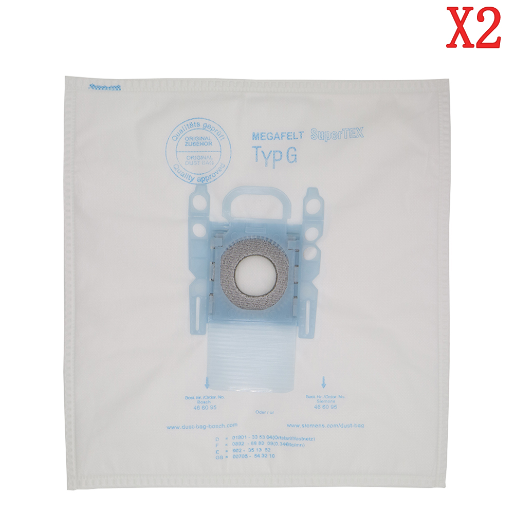 2 pack vacuum cleaner dust bag replacement for Bosch Microfibre Type G GXXL GXL MegaAir SuperTex BBZ41FGXXL gxl 8fi