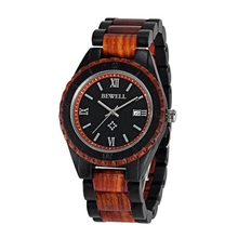 BEWELL ZS-W128AG Мода Дата Окно Дисплея Мужчины Наручные Часы Деревянный Кварцевые Часы