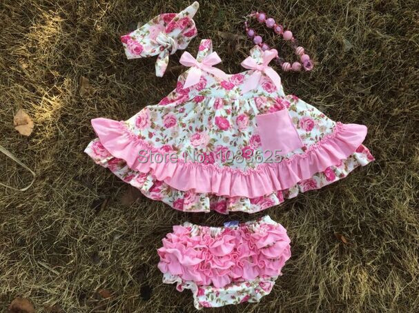 d82745b6944a 2016 new baby girl clothes clothing sets infant girl ruffled swing tops  bloomer set swing outfits swing dress necklace headband