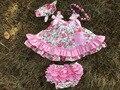 2016 novos conjuntos de roupas de bebê roupas de menina menina infantil conjunto bloomer balanço balanço encabeça outfits ruffled vestido balanço colar cabeça