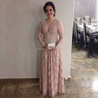 YNQNFS MD57 Elegant Party Dress Pearls Long Sleeve A line V Neck Lace Mother of the Bride Dresses Real Pictures Pink Color 2018