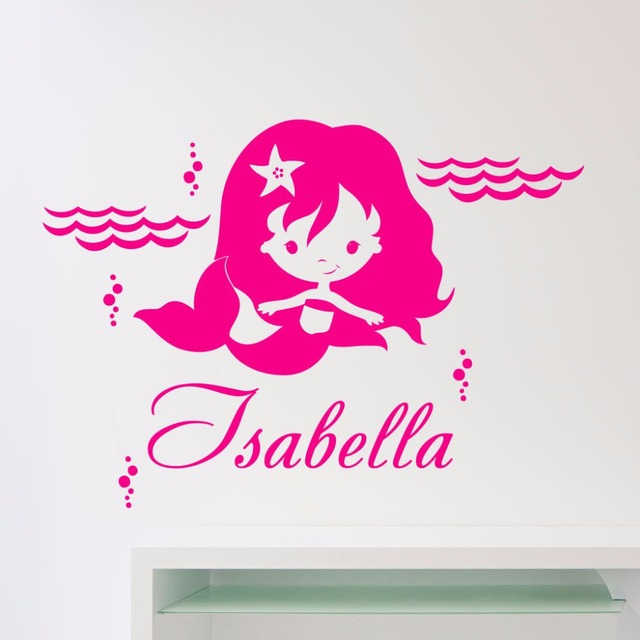 Personalized Mermaid Wall Decal Vinyl Sticker Custom Nursery Art Mural For Kids Room Waterproof Cute