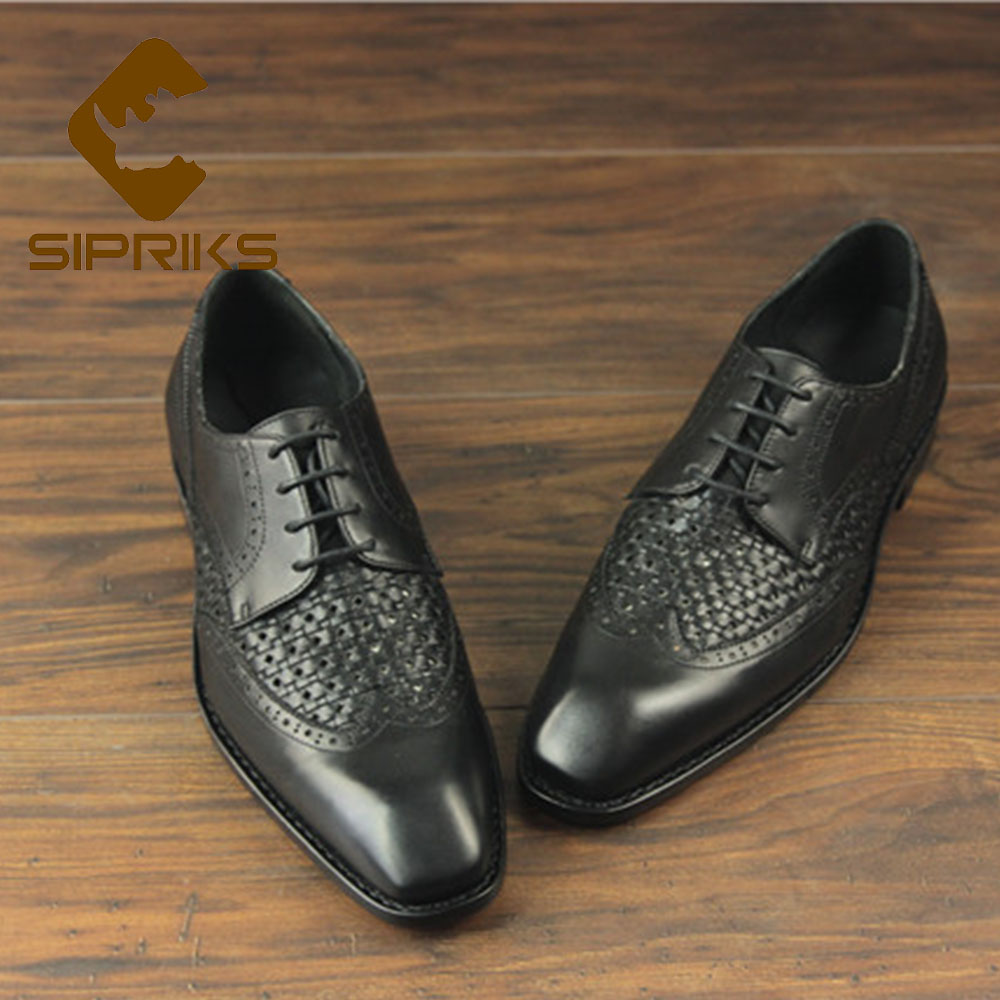 Sipriks Imported Italian Genuine Leather Black Hollow Dress Shoes Square  Toe Goodyear Welted Shoes Boss Men Suits Gents Social-in Formal Shoes from  Shoes on ... 640d8dfd4937