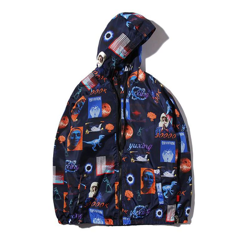 Hip Hop Streetwear Jacket Universe Era Print Men Windbreaker Track Jackets Virgin Mary Zipper Hoodie Outwear M L XL XX