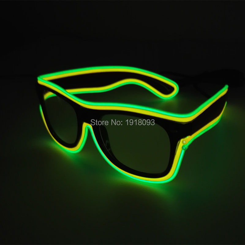 Hot! New Arrival LED Glasses Decoration Blinking Novelty EL Wire Led Party Glass Sound Active Battery Driver Party Supplies
