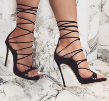 New Fashion Fish Scale Leather Women Lace Up Sandals Sexy Open Toe Ladies Dress High Heels Female Party Shoes Summer Hot Sandals