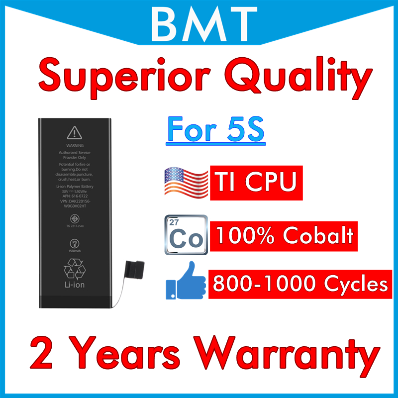 BMT Original 10pcs/lot Superior Quality 100% Cobalt Cell TI CPU 1560mAh 3.7V Battery for iPhone 5S 0 cycle replacement Repair