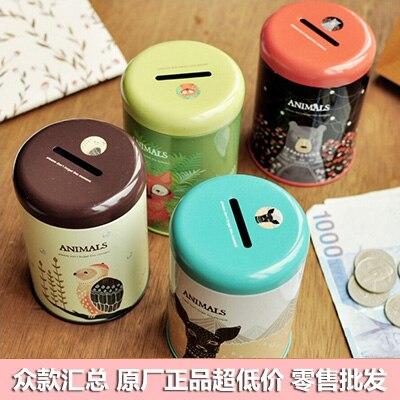Size: dia.65x94H mm/Kit small korea stationery tin small round tin piggy bank child gift storage box