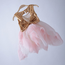 Baby Girls Princess TUTU Dress Sequined Patchwork Backless Dresses Summer Sleeveless Clothes Free Shipping For 2-6Y