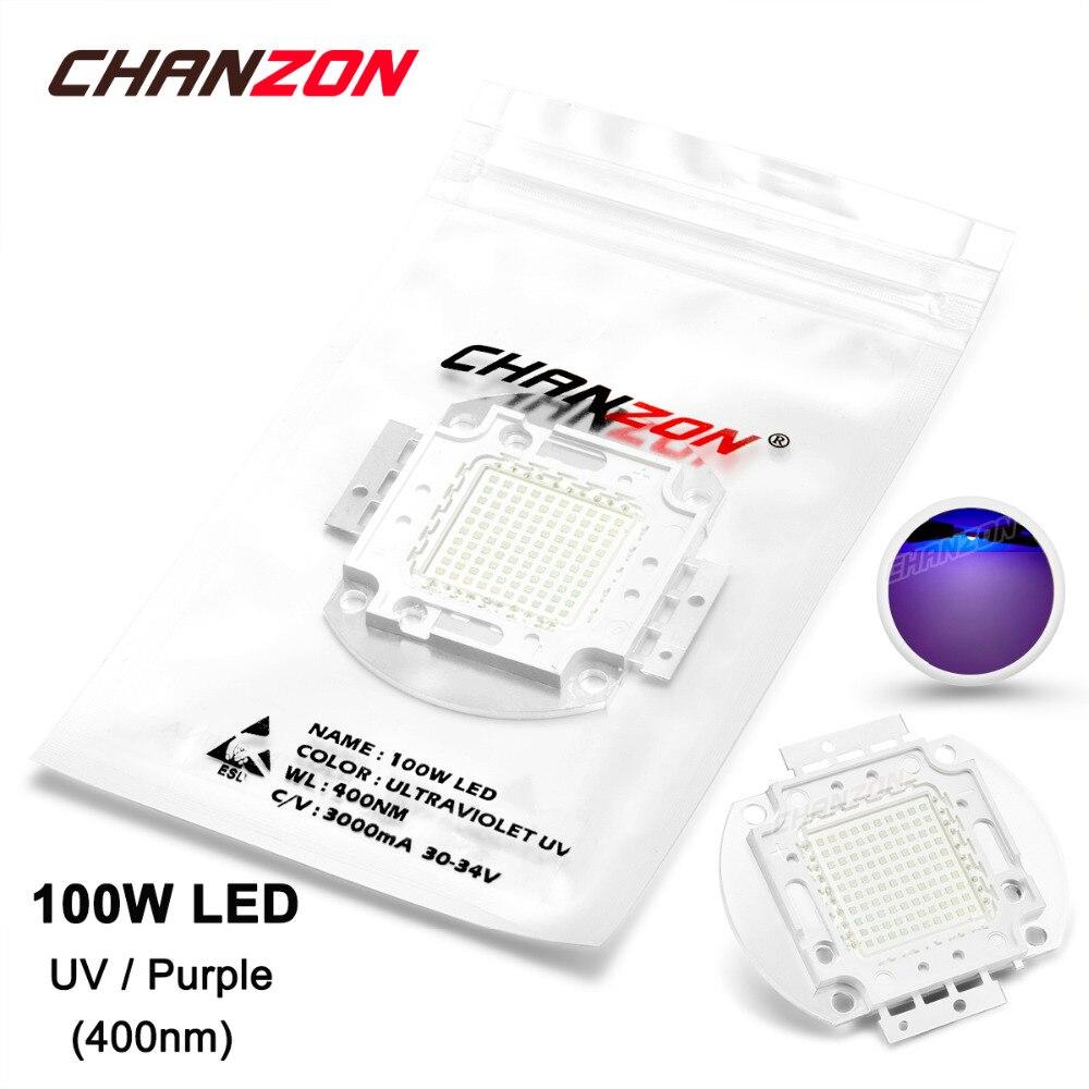 100W LED Light Bulb Lamp UV Ultraviolet 400nm 30-34V 3000mA High Power 100 Watt Purple Ultra Violet Chip 100Watt COB for Nail 50w high power led lamp light uv purple 420nm 430nm led emitter dc 30 36v 1700ma led bulb lighting