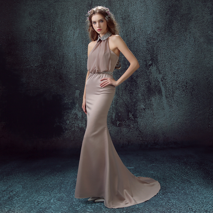 Champagne Pink Bridal Halter Neck Evening Dress Dinner Party Fish