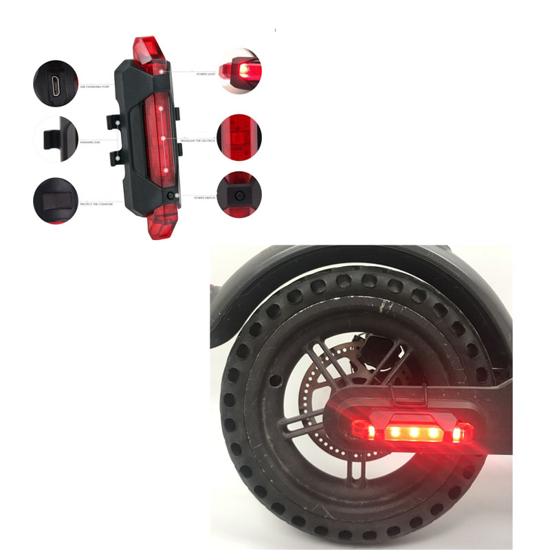 Electric Scooter Warning Light USB Charging Flash Taillight For Ninebot KickScooter ES1 ES2 ES4 Xiaomi Ninebot Parts Accessories image