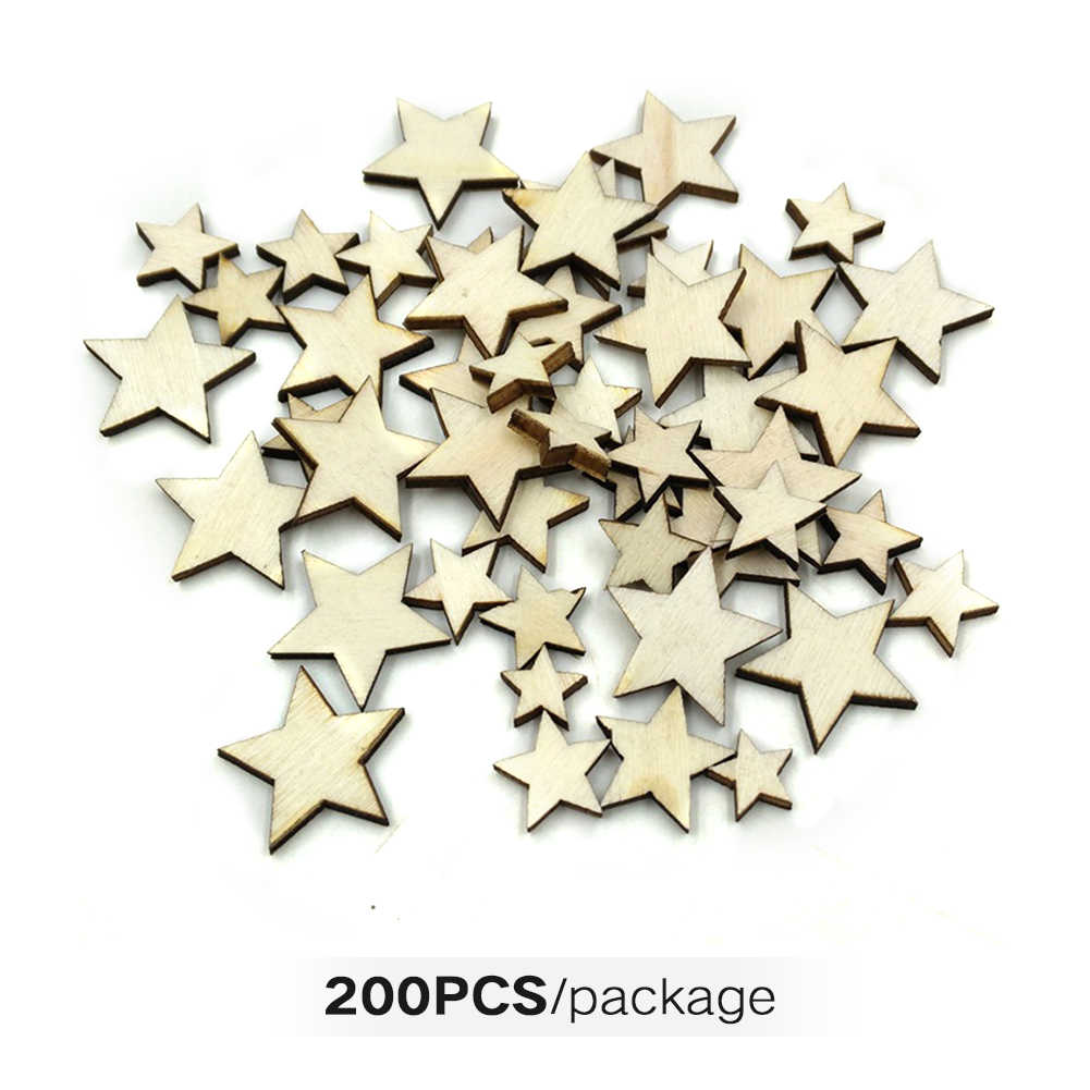 Wooden Stars Graffiti Scrapbooking Buttons Light Weight Handmade Embellishments Supplies Gifts Decorative Size Mixing DIY Crafts