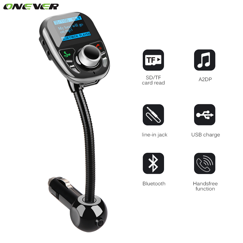 imágenes para Onever coche mp3 reproductor de audio bluetooth transmisor fm con pantalla lcd de control remoto inalámbrico de fm car kit manos libres cargador usb