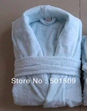 light blue/pink color luxury SPA 100% cotton terry Bathrobe robe natural eco-friendly unisex women men soft skin(China)