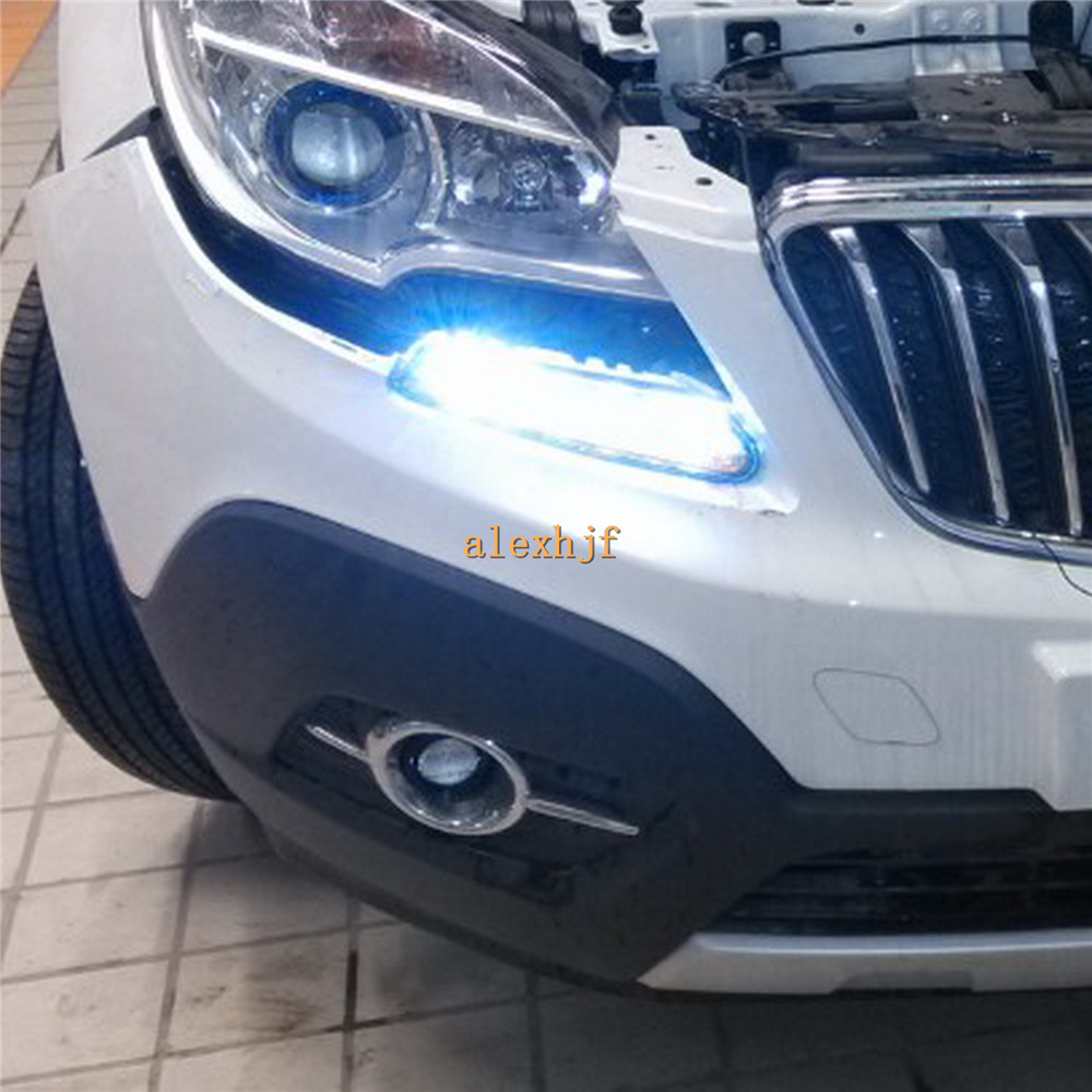 July King LED Daytime Running Lights DRL at Headlight Lamp Eyebrow Yellow Turn Signals case for Buick Encore Opel Mokka 2013~17