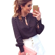 Bluse slit dots polka blusas open chiffon hollow blouse tops shirt