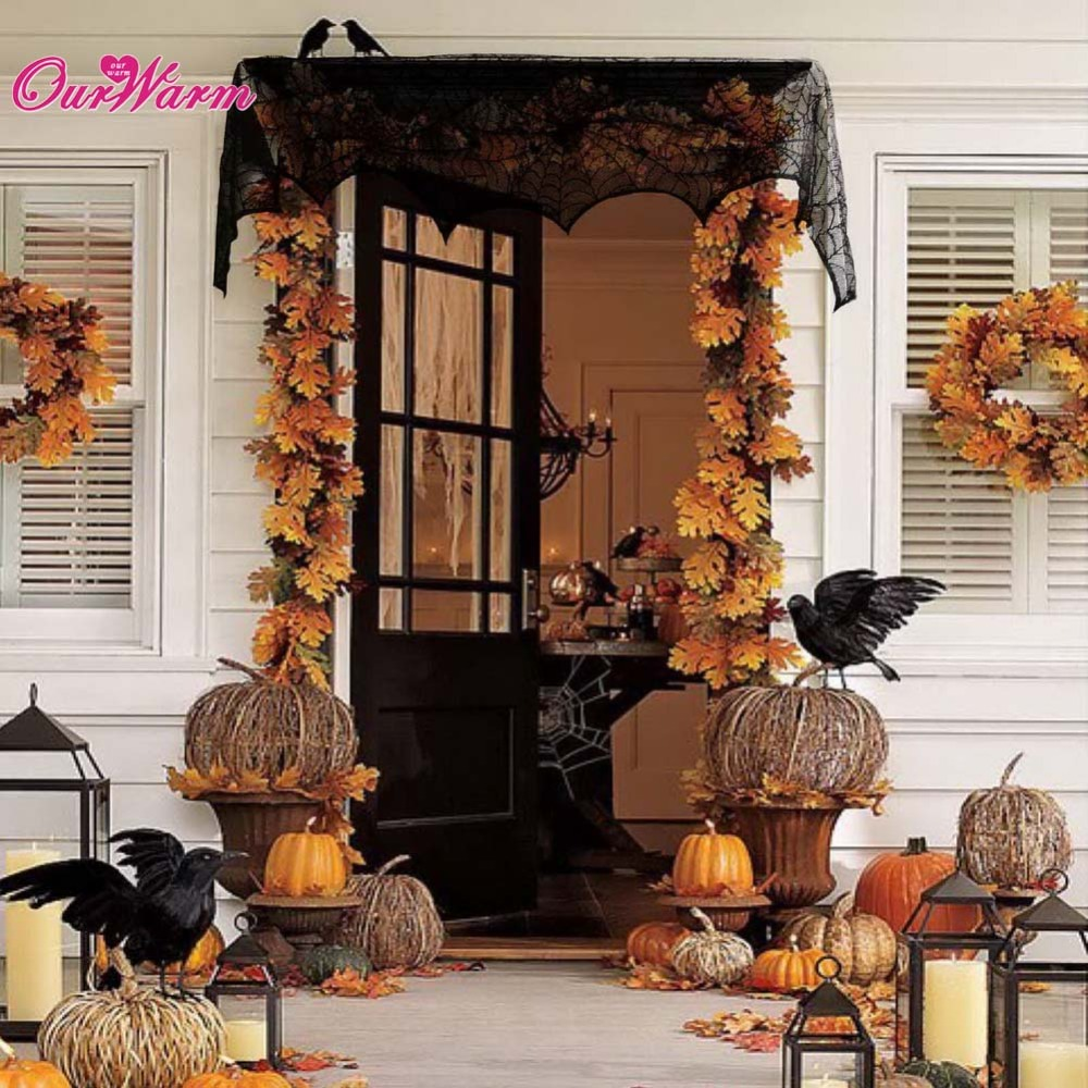 17 x 96 inch cobweb fireplace scarf halloween party decoration lace black spider web mantle