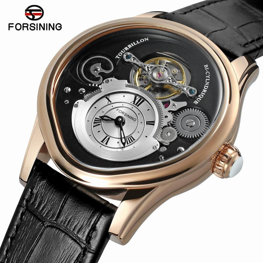 Forsining Rose Gold Tourbillion Design 316 Full Stainless Steel Case Genuine Leather Men Mechanical Watch with Automatic Winding forsining new watches men gold rose tourbillion automatic mechanical watch wristwatch with gift box