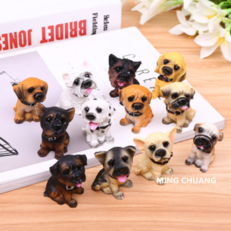 Cute Puppy Statue Rottweiler German Shepherd dog French Bulldog Bulldog Pug Golden Retriever Resin Home Decor Birthday Gift Box