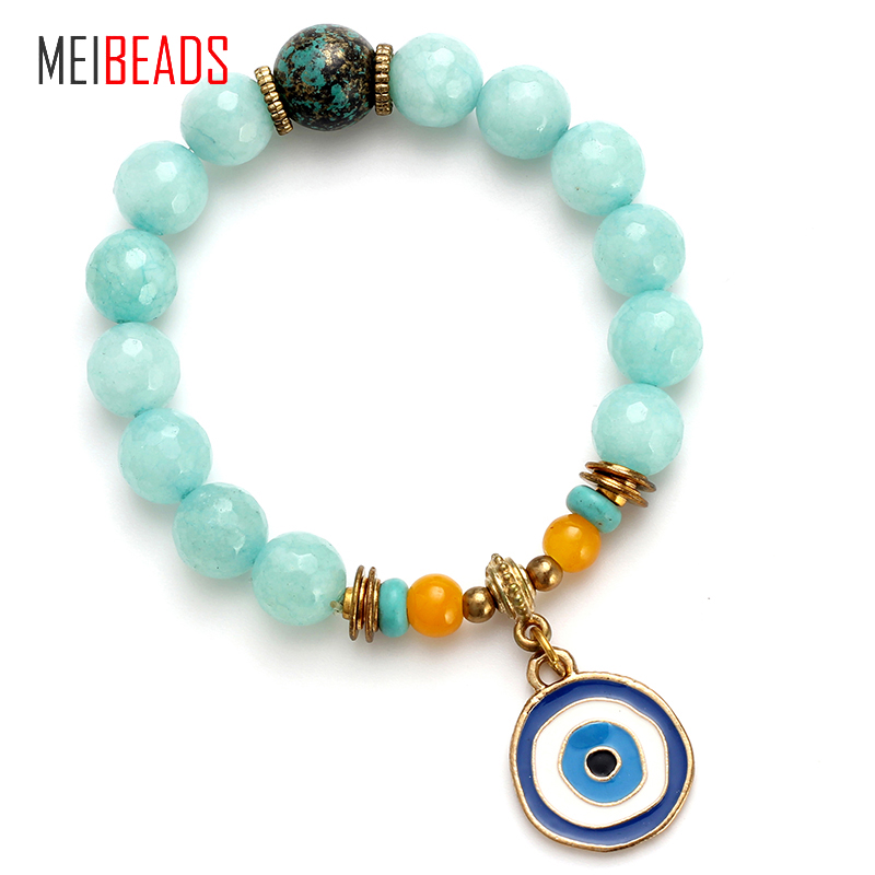 MEIBEADS Evil Eye Natural Beads Fashion Stone Spaced Beads Blue Beads Blue Eye Bracelet Bangle For Women Jewelry Gift EY4786