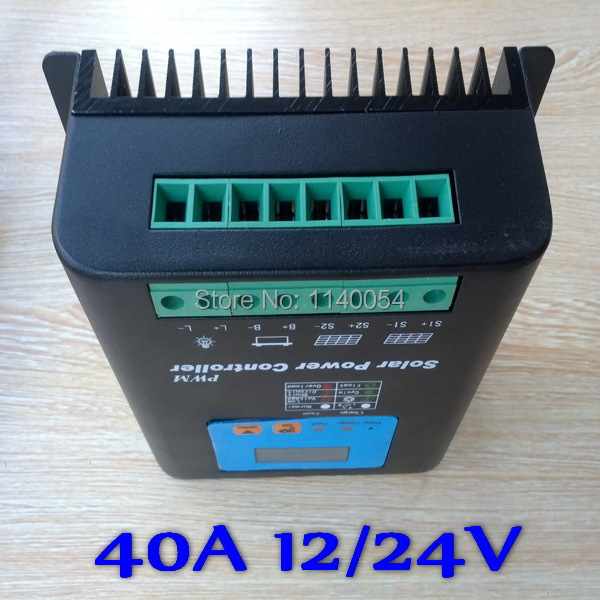 Solar Charge Controller 40A Solar Charger, 12V 24V Auto-work Battery Regulator 40A Solar Controller solar controller 12v24v5a power controller street lights solar charger d