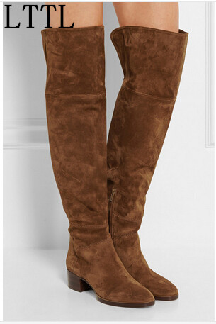 LTTL Fashion Winter Women Thigh High Boots Low Heel Over the Knee Suede Boots Women Western Booties Designer Shoes Woman new 2014 flock suede high heel women boots brand over knee high heel boots for women fashion designer women shoes