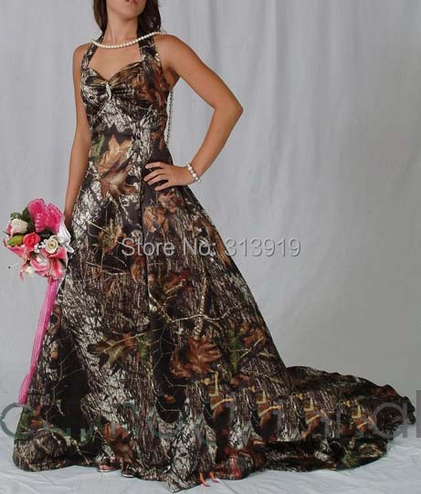 Halter Mossy Oak Camo Wedding Dresses 2017 Camouflage Bridal Gowns Vestido De Noiva Free Shipping