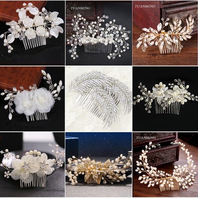 Tuanming 1 шт. Модные прозрачные Перл Свадебный гребень волос Женские аксессуары для волос для невесты шпильки диадемы растительный узор Для женщин ювелирные изделия