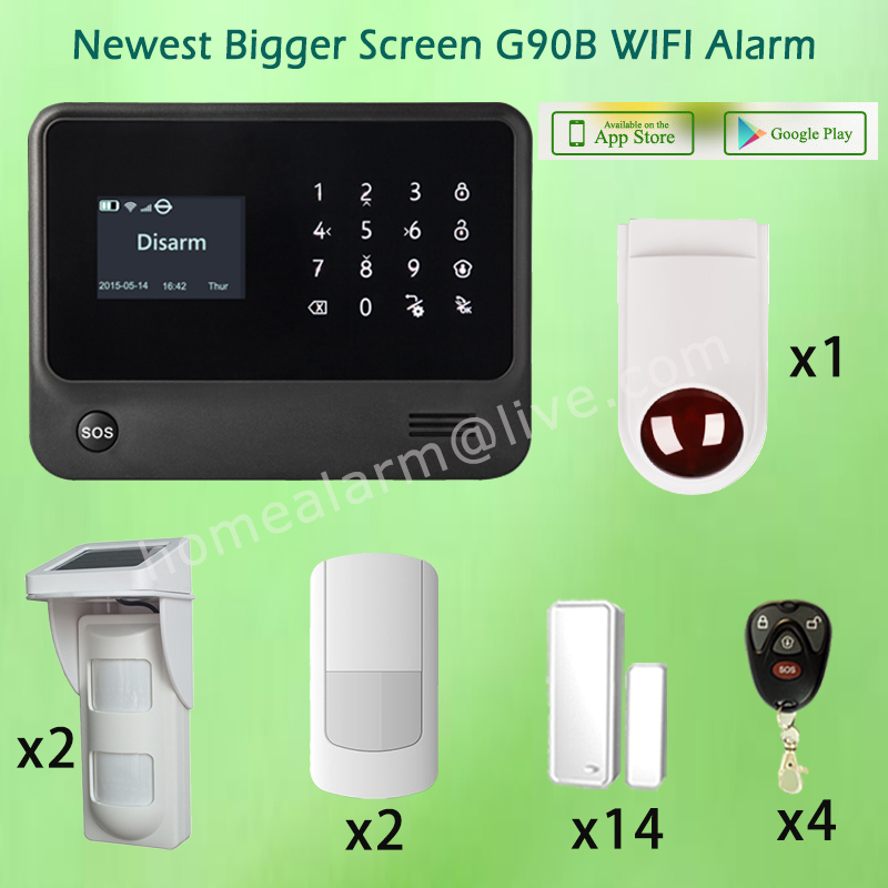 Customerized House Alarm Security System WIFI GSM Alarm G90B with Solar Outdoor Waterproof Pet PIR Sensor and External Siren hot selling wireless glass break vibration sensor works with s4 alarm system and g90b wifi gsm alarm system