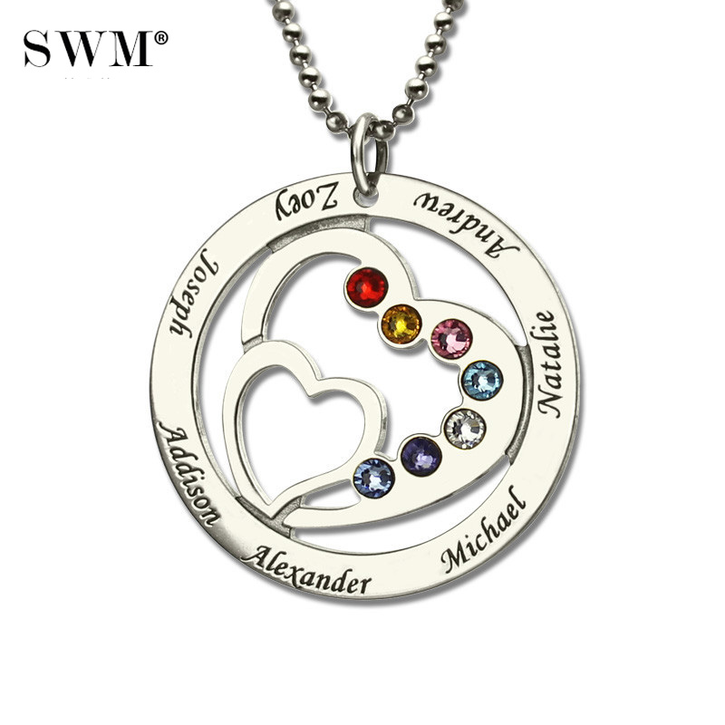 Heart in Heart Birthstone Family Necklace Names Engraved Personalized 925 Silver Mother Necklaces Women's Choker Pendant Chains heart velvet choker necklace