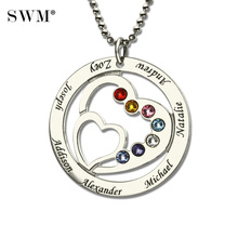 Heart in Heart Birthstone Family Necklace Names Engraved Personalized 925 Silver Mother Necklaces Women's Choker Pendant Chains personalized necklaces 925 sterling silver engraved necklaces diy personalized jewelry family children mother pendants necklace