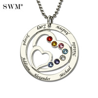 Heart in Heart Birthstone Family Necklace Names Engraved Personalized 925 Silver Mother Necklaces Women's Choker Pendant Chains