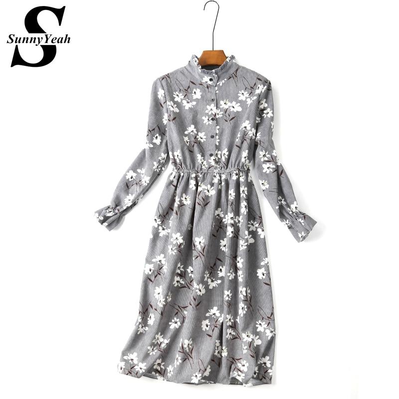 Robes En Velours Côtelé Automne Hiver Robe Femmes Casual 2018 Printemps À  Manches Longues Femme Robe Dames Vintage Imprimer Parti Robes Midi 0d98d693fb9e