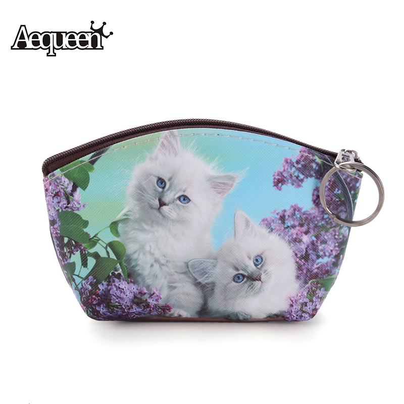 AEQUEEN Women Coin Purses Lovely Dog Mini Wallets Girl Small Coins Bag Cute Cat Key Ring Case Zipper Wallet Pouch Change Purse 2017new coin purses wallet ladies 3d printing cats dogs animal big face fashion cute small zipper bag for women mini coin purse