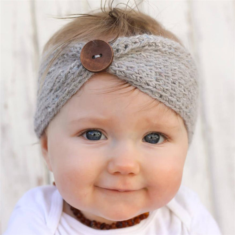 Modern Baby Knitting Infant Kids Girl Button Hairband Phtography Props For (3 months to 4 years old baby) Adjustable 15 защитный детский шлем