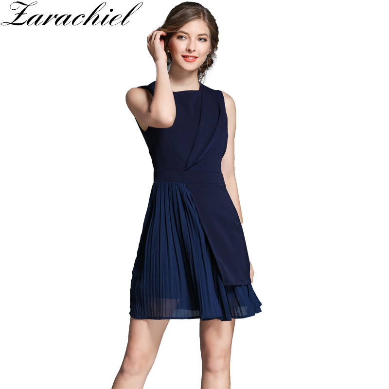 Zarachiel Office Lady Sleeveless Ruched Work Wear Dress ...