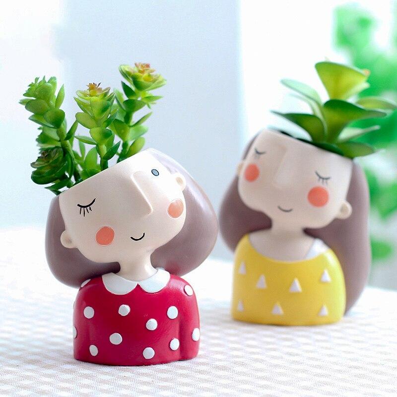 1 pz Carino Della Ragazza di Disegno di Fiori Fioriera Vaso In Resina Succulente Vaso da Fiori Fairy Garden Desktop di Vaso di Fiori