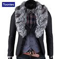 2017 new winter men's classic two buckle collars removable woolen fur collar suit men's casual suit 4 colour